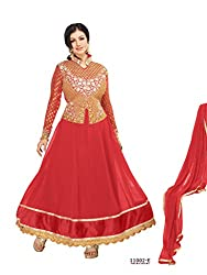Vardhman PF Tomato Faux Georgette Embroidered Anarkali Dress Material With Dupatta