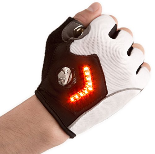 Zackees LED Turn Signal Bike lights in cycling gloves