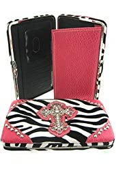 Zebra Print Western Rhinestone Cross Thick Flat Clutch Wallet Hot Pink Trim