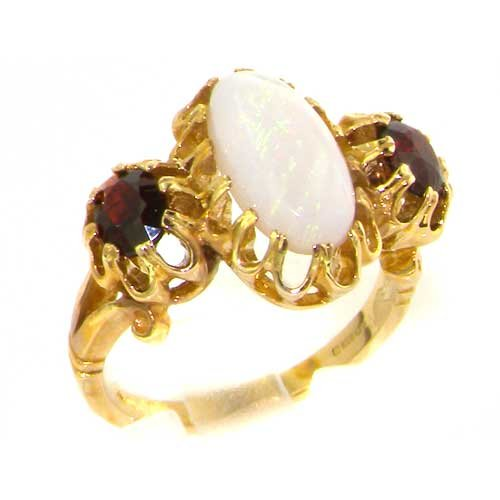 Large Luxury Solid 14K Yellow Gold Natural Vibrant Opal and Garnet Victorian Inspired Ring - Size 9.75 - Finger Sizes 5 to 12 Available - Perfect Gift for Birthday, Christmas, Valentines Day, Mothers Day, Mom, Mother, Grandmother, Daughter, Graduation, Bridesmaid.
