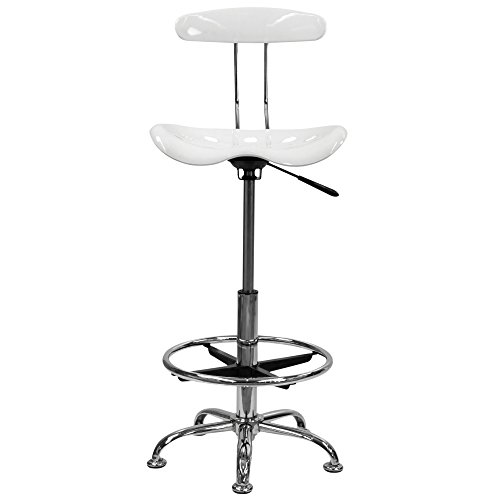 Flash Furniture Height Adjustable Drafting Stool With Chrome Base, Chrome Computer Task Chair With Tractor Seat (White)