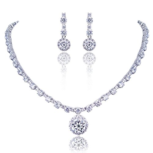 EVER FAITH® Mother s Gift Wedding Prong Clear CZ Round Necklace Earrings Set Si…