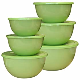 Calypso Basics, 44901, 12 Piece Enamel On Steel Bowl Set With Lids, Lime