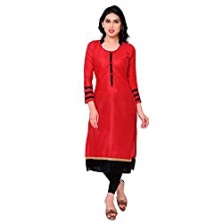 Success Fashion Women's Cotton Unstitched Kurti Material (success k-82_Red_Free Size)