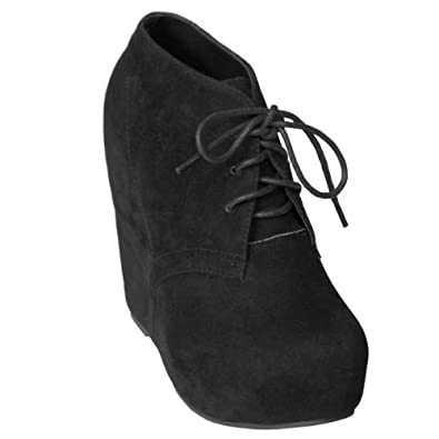 womens wedge lace up high top wedge bootie shoe