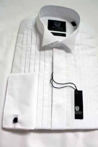 Skopes Full front pleated Dress Shirt. 17 1/2inch Neck, White