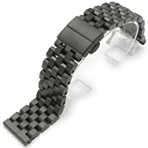 23mm Super Engineer II Stainless Steel Watch Band Deployment Clasp PVD Black