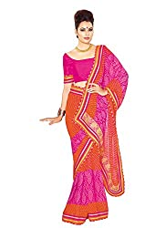Suchi Fashion Pink And Orange Georgette Printed Party Wear Sarees