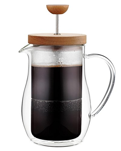 Osaka Cafetière 6 tasses (27 oz) verre borosilicaté doublé renforcé, a piston pour thé et café, avec couvercle Bois « Zenrin-Ji »