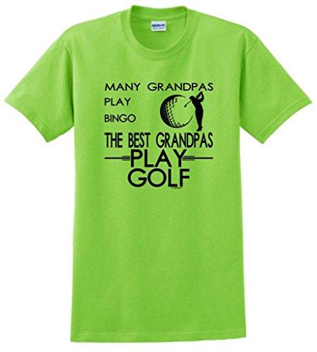 Many Grandpas Play Bingo Best Grandpas Play Golf T-Shirt Small Lime