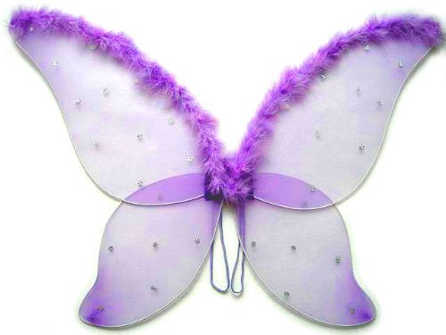 Large Purple Fairy Wings with Feather (33 in) - 1