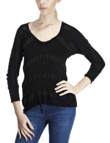 Converse Women's John Varvatos Low V Neck Knit Top Black 1W241230-001 Small