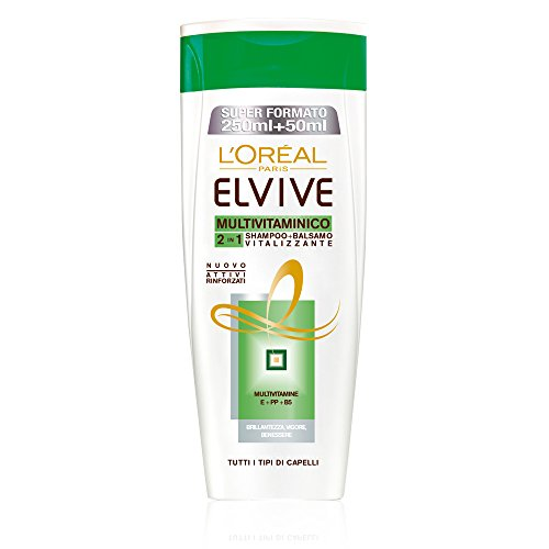 L'Oréal Paris Elvive Multivitaminico 2in1 Shampoo + Balsamo Vitalizzante, 300 ml