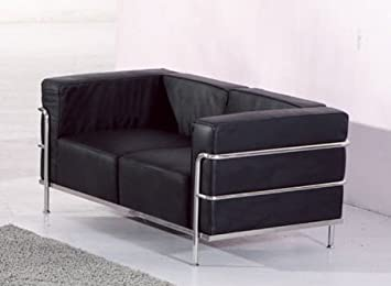 Stunning Le Corbusier Style Black Leather Modern Loveseat