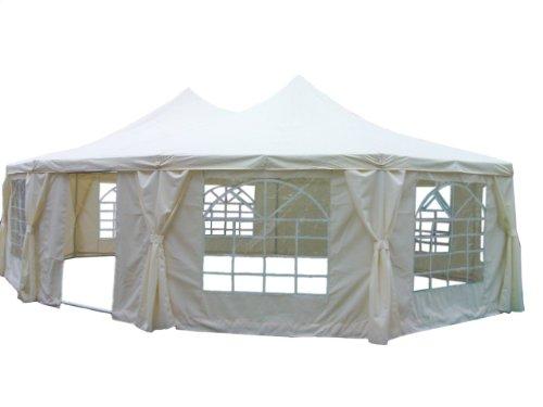 Quictent 8.9 x 6.5 Meter Beige Decagonal Party Tent Marquee Gazebo Canopy Carport
