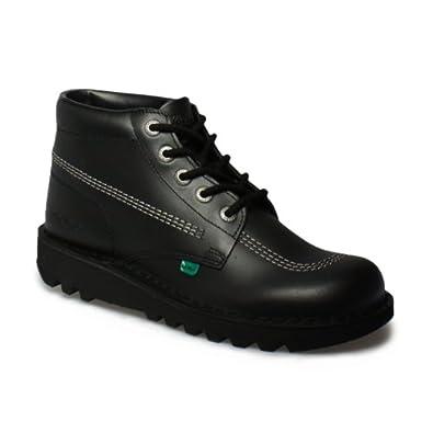 Kickers Kick Hi M Core Black Silver Leather Shoes-UK 10.5
