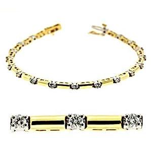 14k Two-Tone Tennis 1 Ct Diamond Bracelet - JewelryWeb