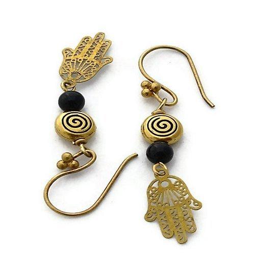 24k Gold Brass Hands with Jet Drop Earrings
