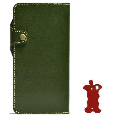 [560]iPhone6 plus 手帳型 ケース オイルレザー 本革(栃木レザー) (左手持ち, グリーン)