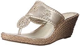Jack Rogers Women\'s Marbella Mid Wedge Sandal,Platinum,6.5 M US