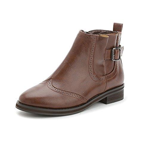 Autunno e inverno vento Appartamento in Inghilterra con stivali da pioggia nudo cintura fibbia stivali donna stivaletti scarpe scarpe donna , brown , 38