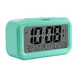 Peakeep Battery Digital Alarm Clock with 2 Alarms, Snooze, Optional Weekday Alarm and Sensor Light (Mint Green)
