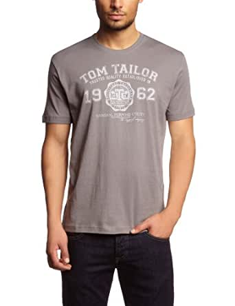 Tom Tailor - T-Shirt - Manches Court - Homme - Argent (2103 Smoked Pearl Grey) - FR: M (Taille fabricant: S)