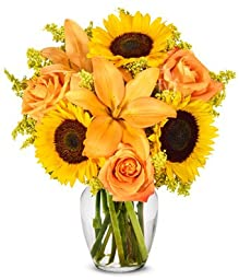 From You Flowers - The Brightest Colors of Fall Bouquet (Free Vase Included)