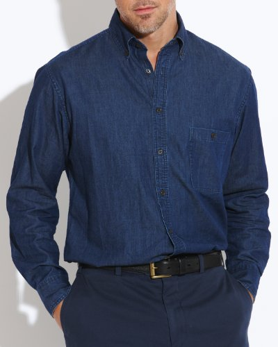 Savile Row Men's Dark Blue Denim Buttondown Collar Casual Shirt Size Small