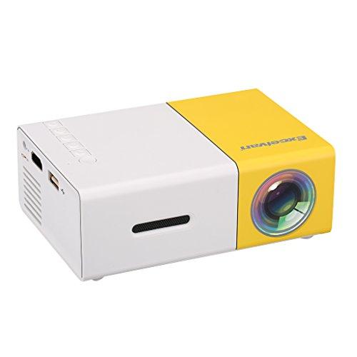 """Excelvan YG300 - Mini LED Proyector (300x240p, 4: 3/16: 9, Soporta 1080P, Proyección 24""""- 60"""", Altavoz Incorporado, Batería Externa) Blanco y Amarillo"""