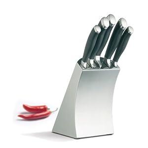 Kitchen craft 5 piece knife set in stainless steel block for Kitchen craft knife set