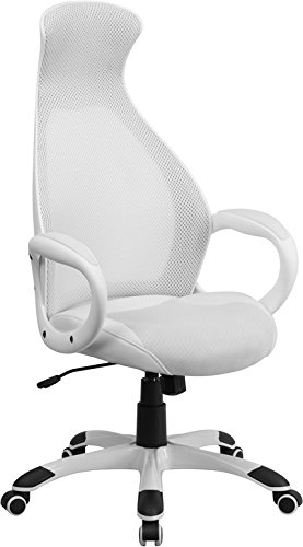 Flash Furniture Ch-Cx0528H01-Wh-Lea-Gg High Back Executive Mesh Chair With Leather Inset Seat, White