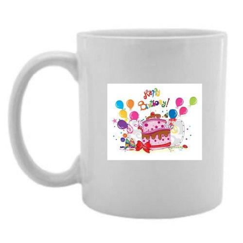Mashed Mugs - Happy Birthday (Cake) - Jumbo Coffee Cup/Tea Mug (White)