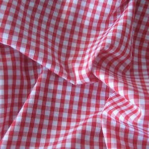 """Red Gingham 1/4"""" Check Polycotton Fabric - per meter"""