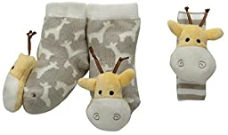 Mud Pie Baby Giraffe Wrist and Toe Rattle Set, Yellow/White, 0-12 Months