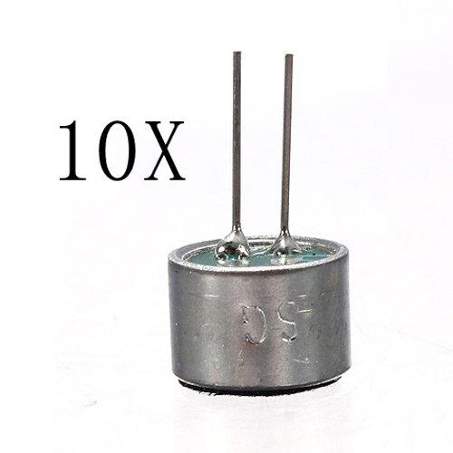 Sodial(R) 10 Pcs 2 Pin Mini Mic Capsule Electret Condenser Microphone Silver Tone Black