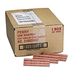 Pop-Open Flat Paper Coin Wrappers, Pennies, $.50, 1000 Wrappers/Box, Sold as 1 Box