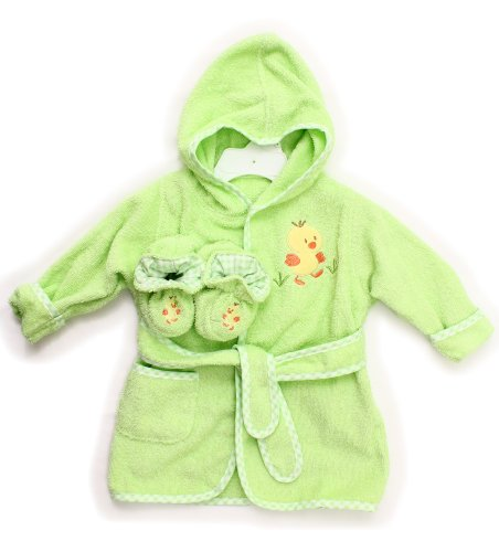 Spasilk 100% Cotton Hooded Terry Bathrobe With Booties, Green Duck, 0-6 Months