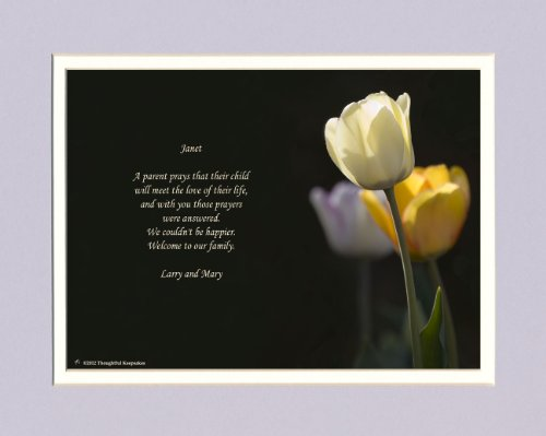 Personalized Daughter in Law Gift with Welcome to the Family Poem. White Tulip Photo, 8x10 Double Matted. Great Wedding Gift.