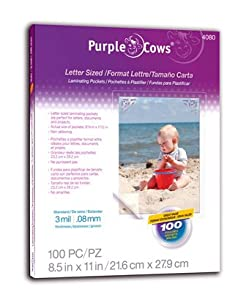 Purple Cows Hot Pockets Hot Laminating Pouches, 8.5x11 Inches, 100 Pouches Per Pack, Clear (4080)