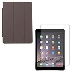 DMG Ultra Slim Magnetic Smart Shell Stand Cover Case for Apple iPad Air 2 (Brown) + Matte Anti-Glare Screen Protector