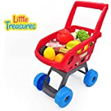 Little Treasures Home Shopping Cart Grocery Supermarket Playset With 22 Accessories For Kids Ages 3 And Up Fun...