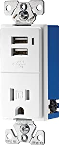 Cooper Wiring Devices TR7740W-K Combination USB Charger with Tamper Resistant Receptacle, 2-Pole, 3-Wire Grounding, White