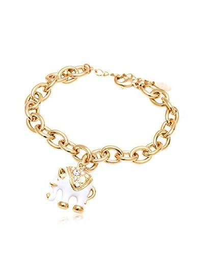 Barzel White Elephant Charm Bracelet with Swarovski Elements