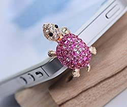 Dust Plug- Earphone Jack Accessories Crystal Lovely Pink Turtle/ Cell Charms / Ear Jack for Iphone 4 4s / Ipad...