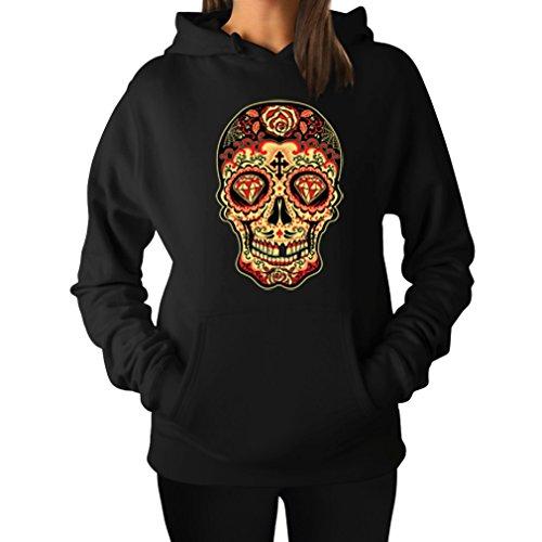 Teestars Women'S - Sugar Skull Diamond Hoodie Xx-Large Black