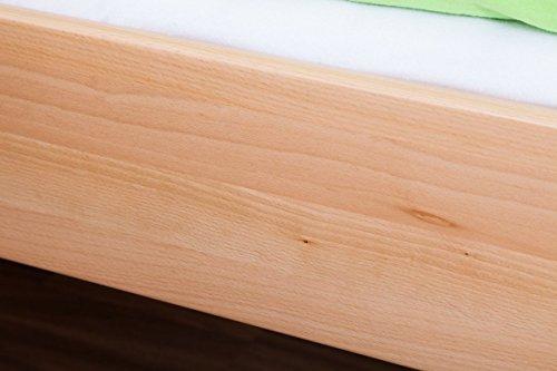 Lit pour enfant / adolescent Benedikt en hêtre massif naturel, sommier à lattes déroulable inclus - 90 x 200 cm