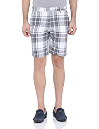 Blue Wave White And Grey Checkered Casual Shorts For Men