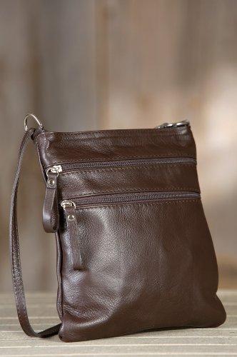 Women'S Trinity Calfskin Leather Crossbody Handbag, Chocolate, Size 1 Size