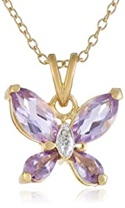 Yellow Gold Plated Sterling Silver Amethyst and Diamond Accent Butterfly Pendant Necklace, 18""
